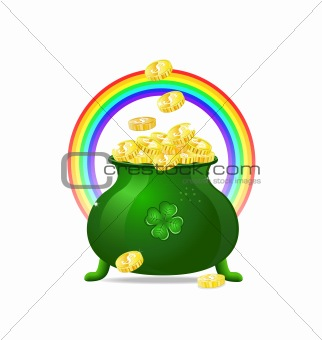 Green cauldron with gold coins