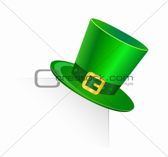 st patrick green hat on blank page