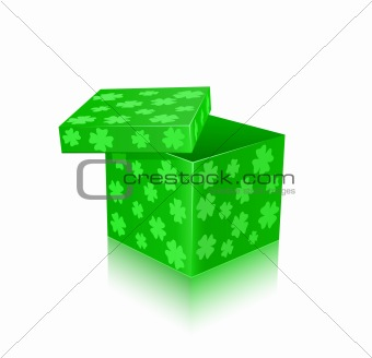 Green open gift box with shamrocks