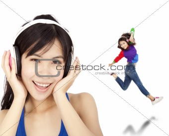 happy asian woman listen music and dancing
