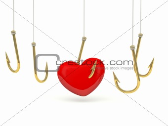 Red heart on the hook
