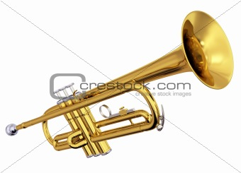 Brass trumpet on white background
