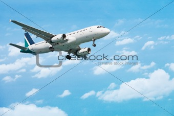 Airliner on the cloudy sky