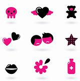 Emo design elements and icons isolated on white ( black & pink )