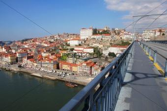 Portugal. Porto city. View of Douro river embankment in the morn
