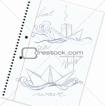 Sketch of hand drawn ship