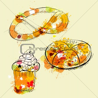 Card with sweets and pretzel