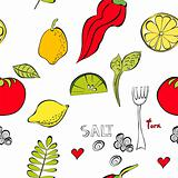 Seamless wallpaper with fruit and vegetable