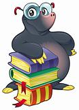 Mole with books.