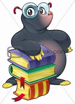Mole with books.