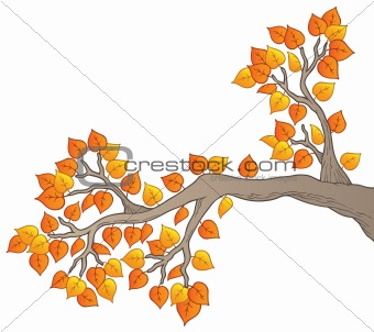 Cartoon tree branch with leaves 2