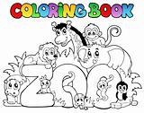 Coloring book zoo sign with animals