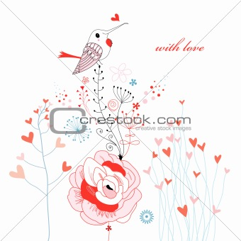 love bird on flowers