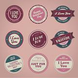 Collection of vintage Valentine's day labels