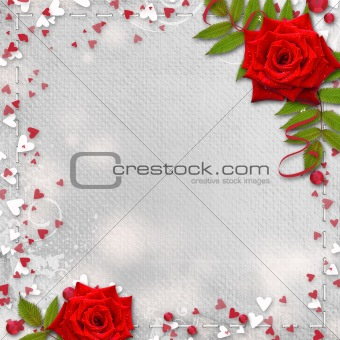 Card for congratulation or invitation with hearts and red roses