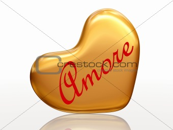 Amore in golden heart