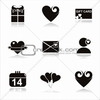 black st. valentine's day icons