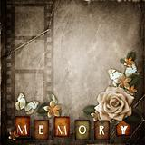 Vintage background with  paper  frame and flowers