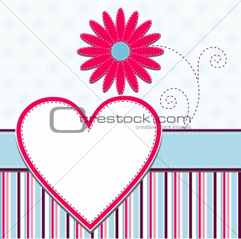 Template heart greeting card, vector
