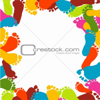 Abstract background, prints of foots of the child, vector