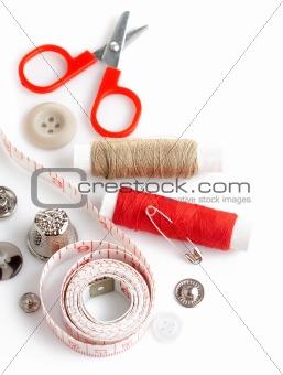 tools for needlework thread scissors and tape measure