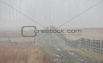 Fence & soggy path, Gettysburg Battlefield