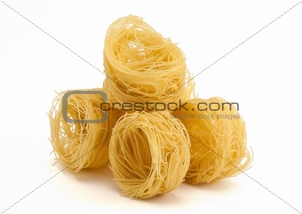 5 folded noodles on white