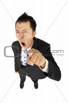 business man shouting and pointing you