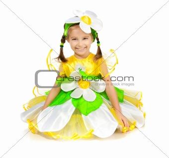 Little girl in camomile costume