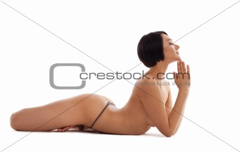 nude woman relax in yoga pose isolated