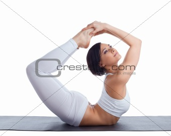 beauty girl in back bends yoga - bow pose