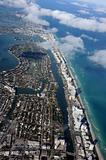 Aerial view of the Miami coast