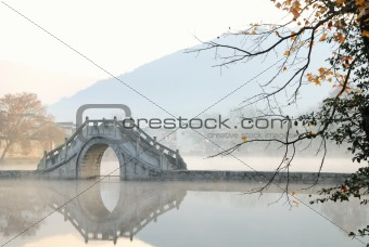 Beautiful scenery of a Lake's Bridge