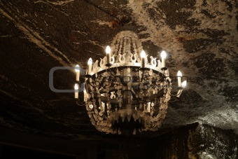 Chandelier in Wieliczka salt mine. Poland