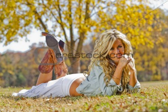Blonde Model Posing Outdoors