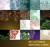 set of floral greeting