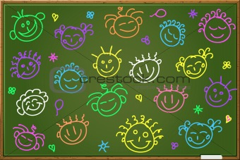 Chalkboard with cartoon faces