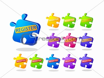 Register Now Puzzle Icon Set