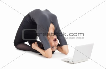 crazy business woman in yoga pose cry on laptop