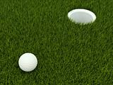 Golf ball in a meadow