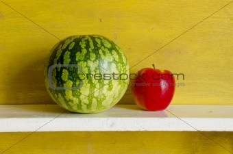 Watermelon red apple. Healthy natural fruit food