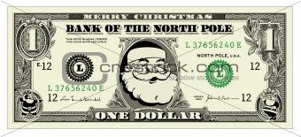 Vector Santa One Dollar Bill