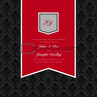Vector Red Pennant Frame and Background.