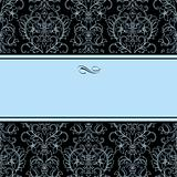 Vector Dotted Damask Pattern and Blue Frame