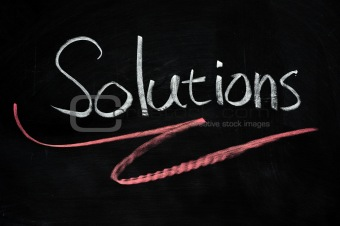 Solutions written on blackboard