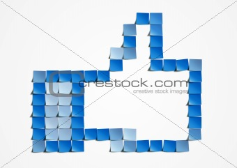 Thumb up post-it art
