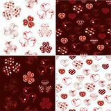 Vector set of heart seamless pattern