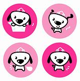 Cute female dog with crown pink icons or buttons set