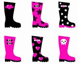 Emo rain boots for young adults isolated on white