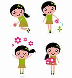 Cute little girl with spring Flowers isolated on white